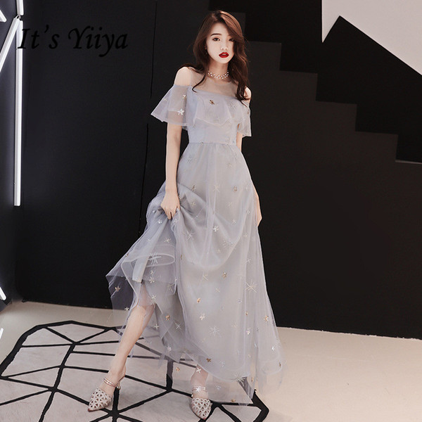 It's YiiYa Evening Dress Full Stars Pattern Shining Gray Formal Dresses Sexy Off Shoulder Ruffles Party Gown