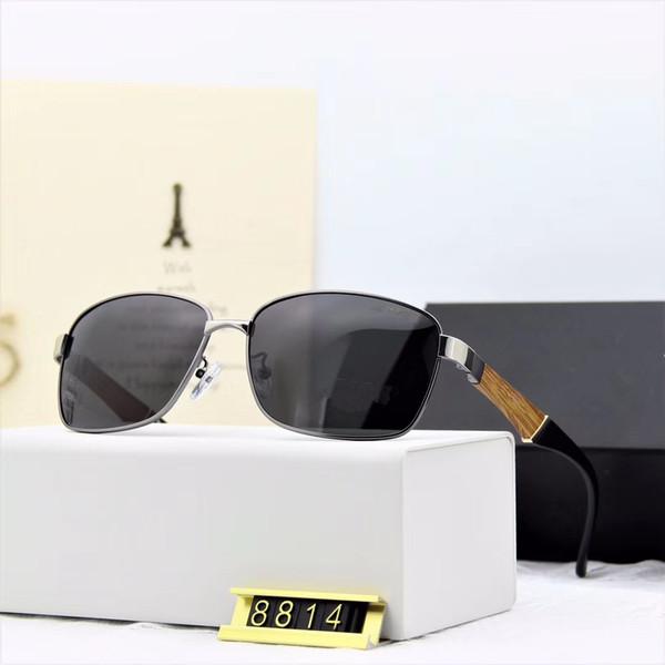 Обесцвечивать стекло объектива солнцезащитные очки Мужчины Женщины Круг солнцезащитные очки Дизайнер высокого качества Eyewear Goggle зеркало с Brown Case солнцезащитные очки -8814