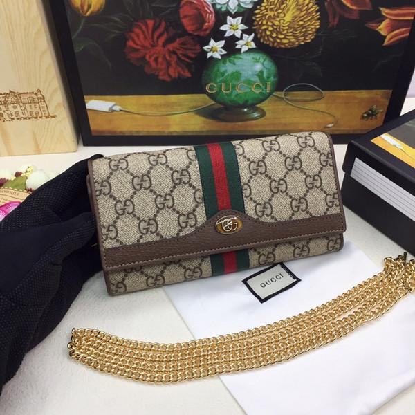 Kutu ile en iyi uzun fermuar cüzdan kadın marka Hakiki Deri kare cüzdan deri çanta kadın cüzdan 19-10-3.5 546592