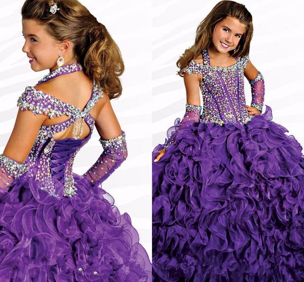 Ruffle Purple Beautiful Custom Cute Crystal Flower Girl Dresses Floor Length Hand Made Flowers Bows Kids Prom Birthday Dress