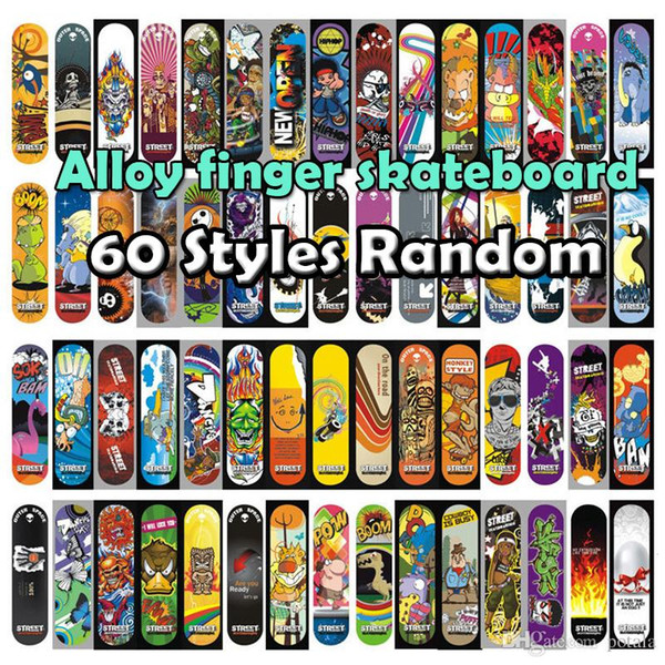 50PCS Finger Skateboard Graffiti Novelty Fingers Gag Sports Patterns Random Pressure Relief Plastic FingerBoard Kid Toys Gift Xmas Birthday