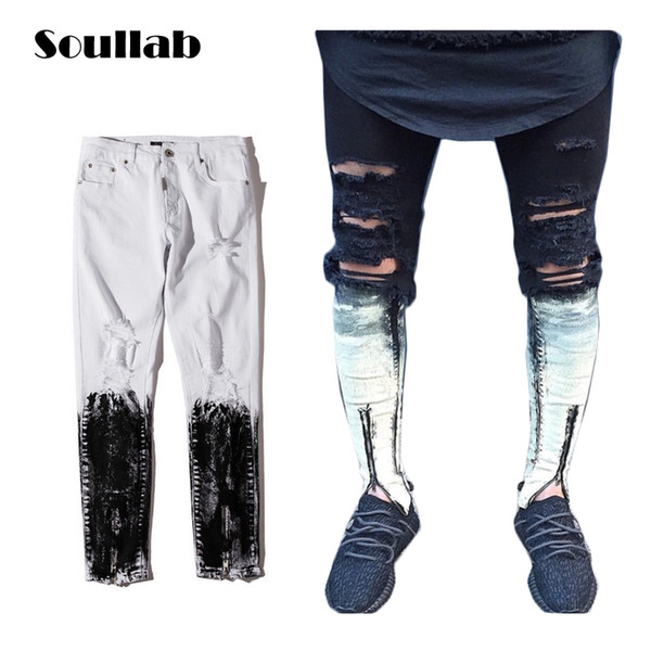SOULLAB new quality white black ripped destroyed mens bottoms zipper skinny slim fit painted denim jeans distressed broken swag