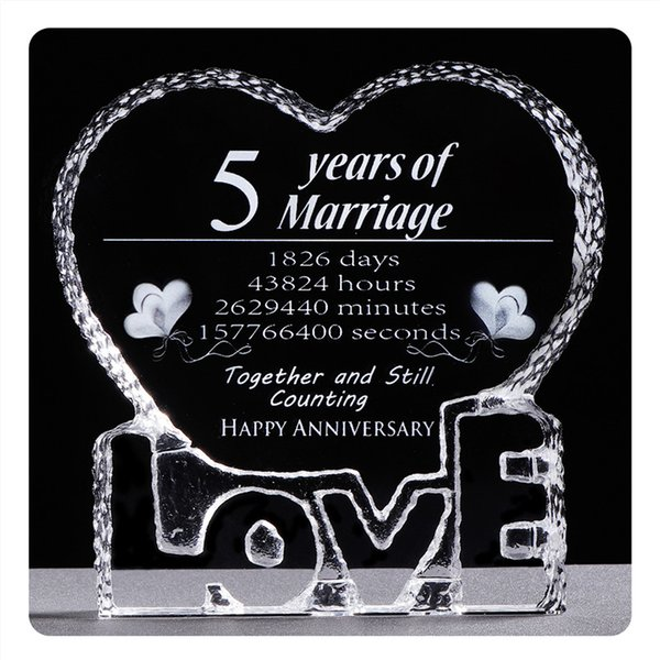 5 Years Wedding Anniversary Crystal Souvenirs Love Heart Shape