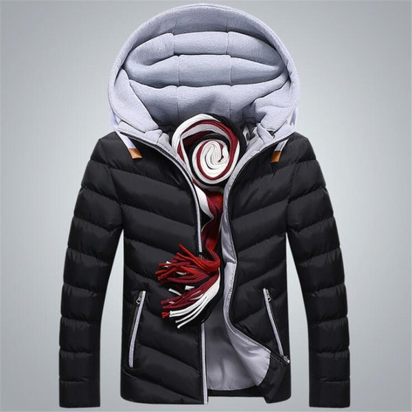 2018 Winter Jacket Men Hat Detachable Warm Cotton Padded Outerwear Mens Jackets And Coats Hooded Collar Male Parkas Clothes