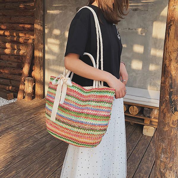 OCARDIAN Handbag Women Fashion Summer Style Beach Bag Large-capacity holiday bow Totes literary Straw Handbag dropship a12