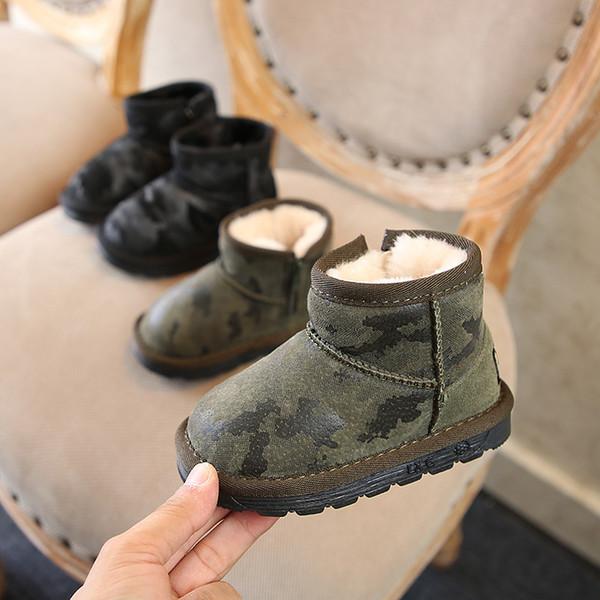 2018 kış yeni Moda erkek shoes shoes çocuklar sıcak tutmak ayak kamuflaj süet kız kar botları süper yumuşak ve rahat