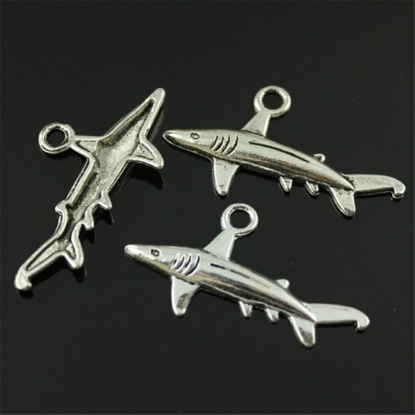 150 stücke Fischhai Anhänger Charme Für Schmuck Machen 2 Farben Antike Bronze Antike Silber Hai Charme Fisch 36x20mm