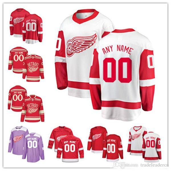 2019 Personnalisé Hommes Femmes Tout-Petits Detroit Red Wings Jersey De Hockey Sur Glace Jersey Fanatiques De Marque Tyler Bertuzzi Gordie Howe Niklas Kronwall
