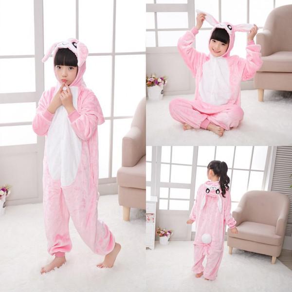 kids cosplay Cute Fannel Loose Kigurumi Rabbit Pajama for Girl New Year Winter Soft Jumpsuit Loose Hare Costume Kid Cosplay