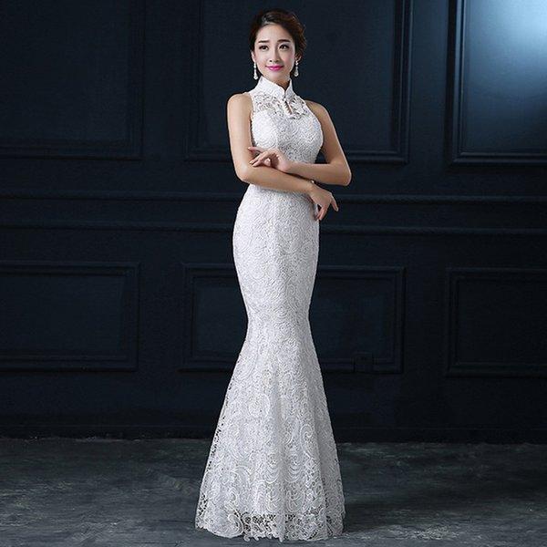 Blanc Dentelle Cheongsam Moderne Chinois Traditionnel Robe De Mariée Femmes Colliers Orientaux Sexy Longue Qi Pao Robe De Soirée Sirène
