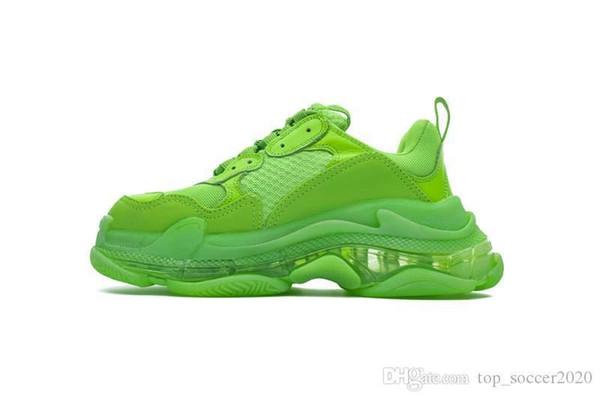 Antik Çanta) En Kaliteli (Yeşil Triple-S Sneakers Ile Hava yastığı Ayakkabı Erkek Kadın Koşu Ayakkabıları Tenis Spor Ayakkabı Boyutu 35-45