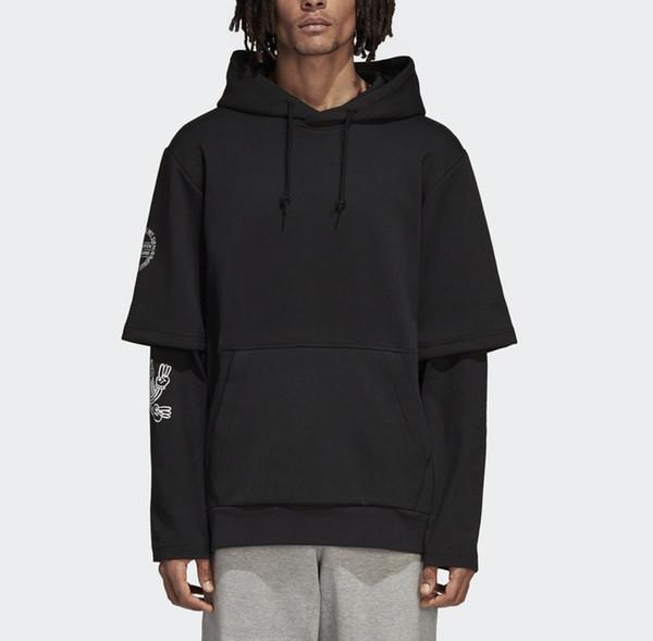 unisex 2019 Kapşonlu Sweatershirt Marka Kapüşonlular Kazak Dış Giyim Ceketler Yanlış İki adet Hiphop Streetwear Designe Uzun Kollu Sport B100006L