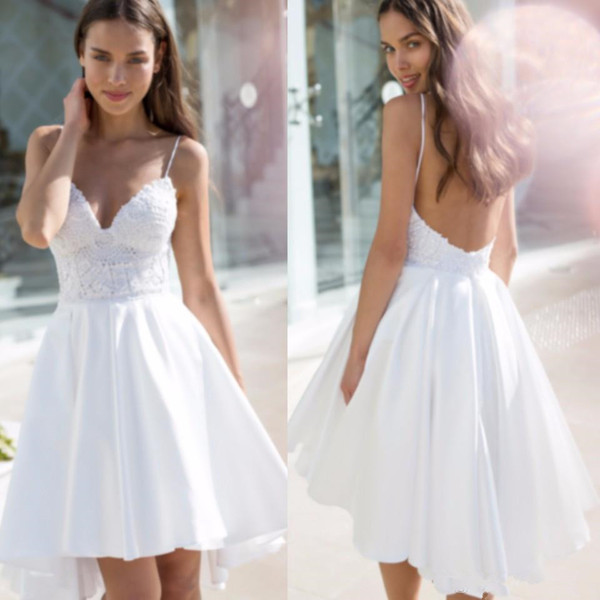 Sexy Backless Short Wedding Dresses Spaghetti Straps Lace A Line High Low Wedding Party Gowns for Bride