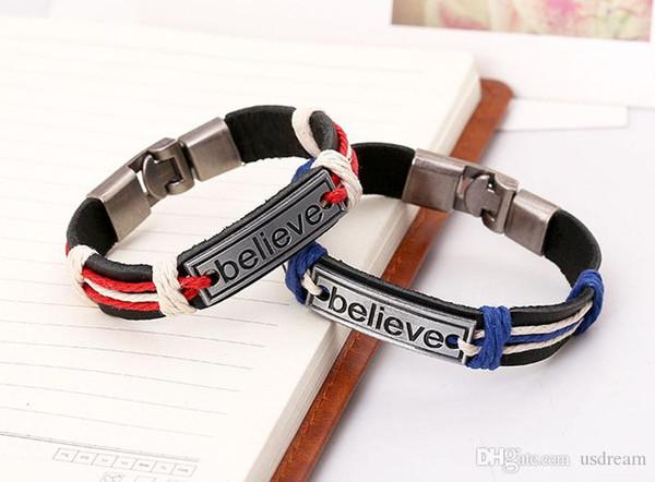 Believe Bracelets Believe Tag Genuine Leather Inspirational Bracelets Bangle Cuff for Women Men Fashion Jewelry DROP SHIP 160418