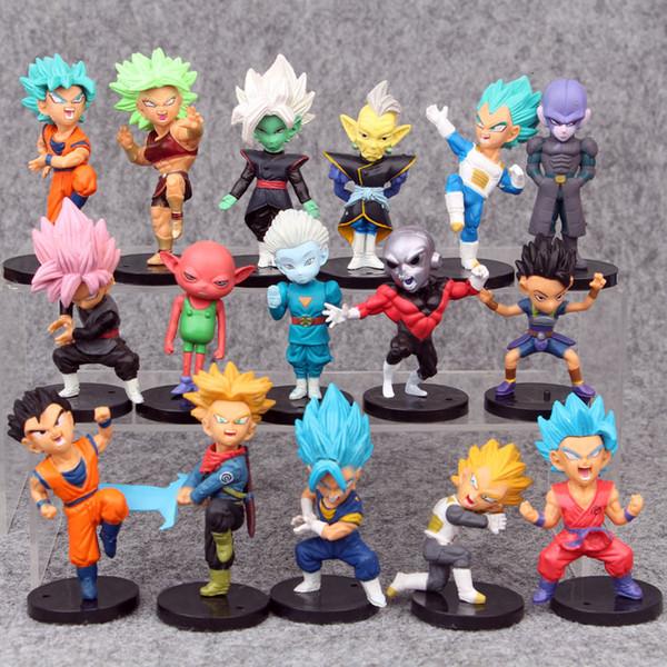 16шт / набор аниме Dragon Ball Z символы смазливой Версия ПВХ фигурка игрушка Модель 8см MX191105