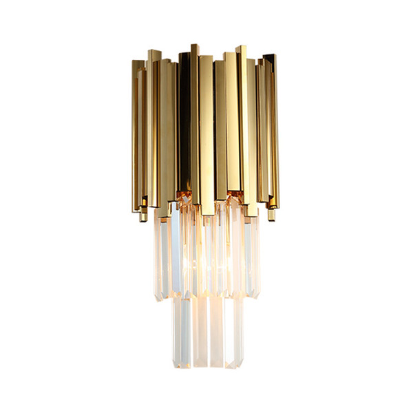 New modern luxury crystal wall lamps living room corridor bedside wall sconces light gold finish wall mount led lighting fixtures