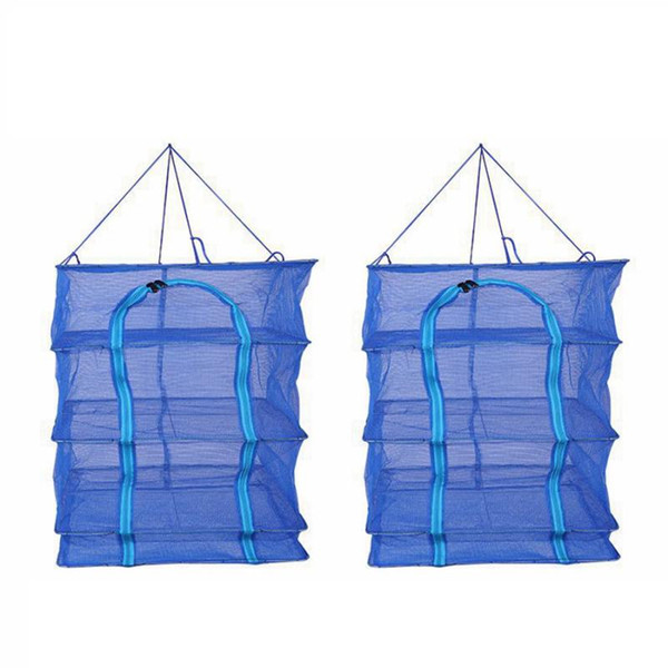 4 Layers Drying Fish Net Foldable Net Drying Rack Hanging Vegetable Seafood Dishes Dryer Net Hanger Fishes Nets Fishing Accessories RRA337