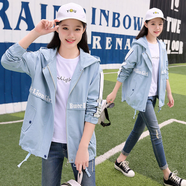 2019 Autumn Women Basic Jacket Zipper Hooded Casual Short Windbreaker Coat Pockets Outwear Loose Spring Chothing for Girls
