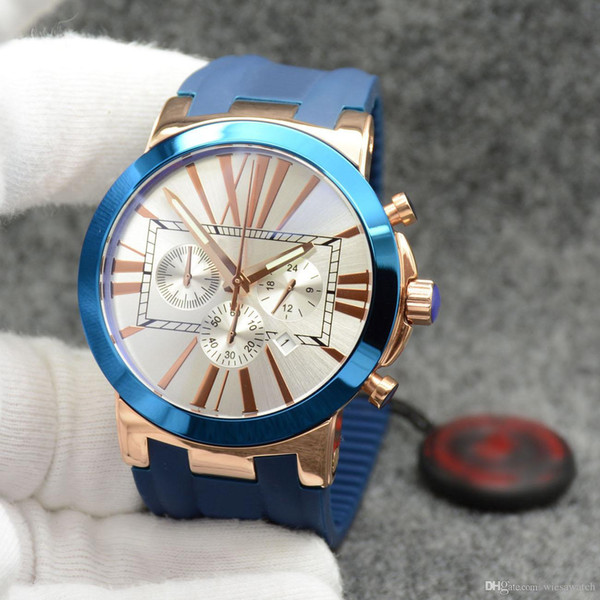 Individual Style Dual Time Exquisit Men Watch Chronograph Quartz Roman Number Markers Outdoor Mens Watches With Blue Rubber Band