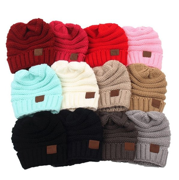 13 Colors Kids Winter Warm Beanie Crochet Hats Wool Knit Skull Designer Hat Outdoor Sports Caps for Baby Children NC091