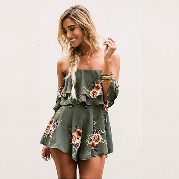 Danjeaner Off Shoulder Boho Style Floral Print Playsuit Women Sleeveless Rompers Elegant Sexy Beach Holiday Jumpsuits Overalls C19041901