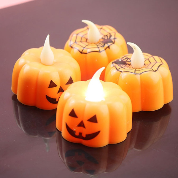2019 New Pumpkin Electric Candle Light Halloween Party Decoration Mini Candle Lantern Warm White Halloween Home Decoration DBC VT0546