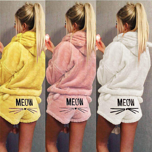 Women Cute Kitty Fleece Pajamas Set Winter Autumn Pullover Hoodie + Shorts Set Warm Soft Coral Velvet Clothing Pajama Suit 27 Colors NEW