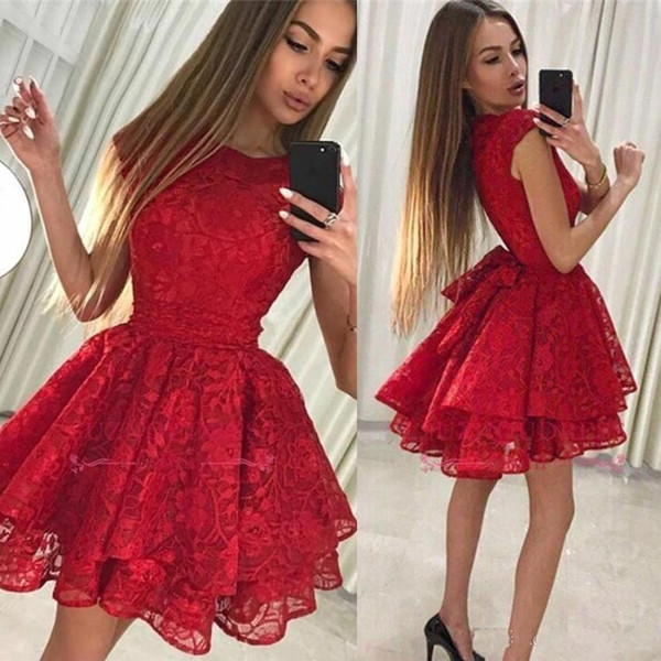 Hot Dark Red Short Mini Homecoming Dresses Jewel Neck Cap Sleeves A Line Full Lace Big Bow Plus Size Party Dress Cocktail Gowns