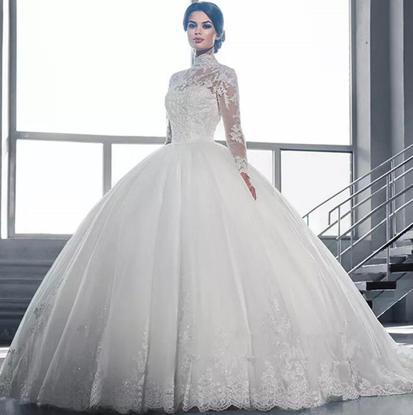 2019 vintage puffy ball gown wedding dre e arabic high neck illu ion lace applique cry tal beaded weep train formal bridal gown