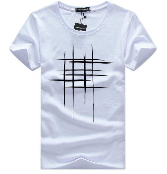 2018 Simple creative design line cross Print T Shirts Men's New Arrival Summer Style Short Sleeve