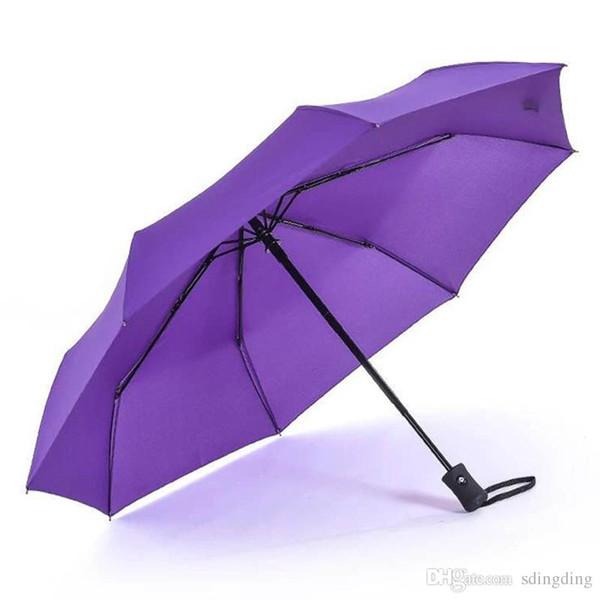 Paraguas completamente automático Color multi Duradero Mango largo Paraguas de negocios de tres veces Diseño creativo personalizado Promoción Paraguas DH0053