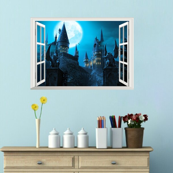 Großhandel Cartoon Harry Potter Wandtattoos PVC Magic Academy Castle  Wandaufkleber Wandbilder Für Kinderzimmer Und Kinderzimmer Dekor Abnehmbare  Von ...