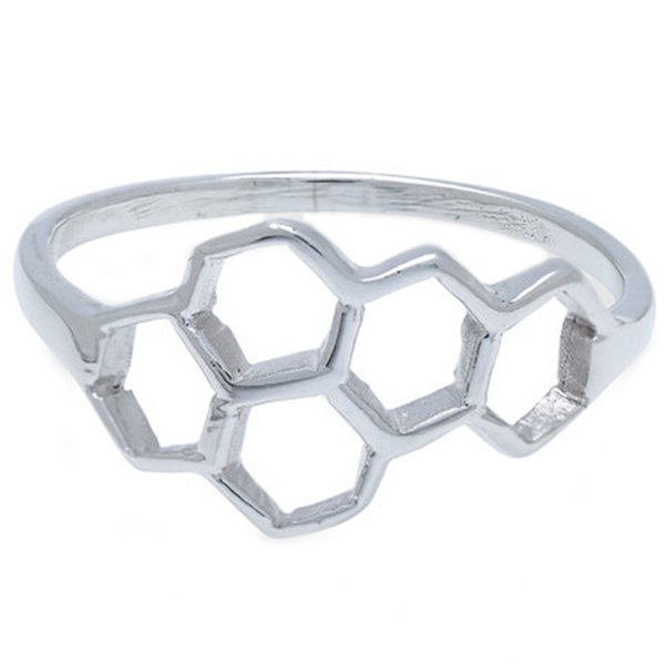 1PC New Fashion Honeycomb Shape And Linked Hexagon Finger Ring For Women Birthday Gift