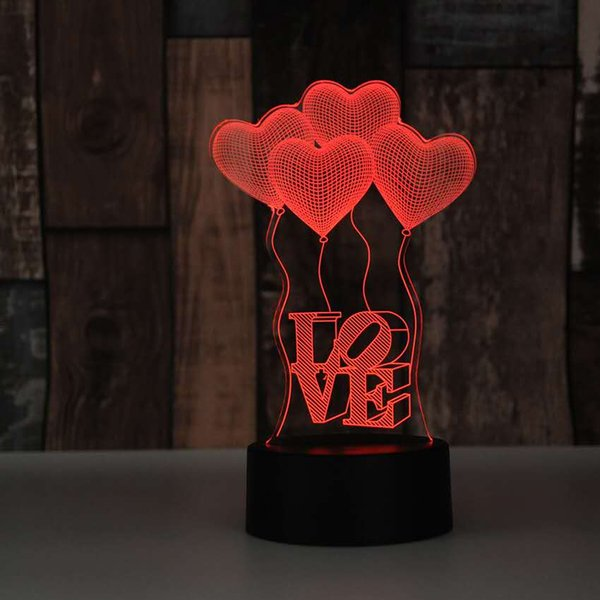 3D Lamp best gift for lover women LED Night light Furniture Decorative colorful 7 color change household Home Accessories