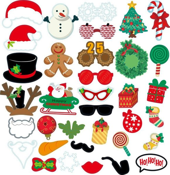 Christmas Party Photo Props Masks 5Style White Mustache Santa Claus Hats Candy Rabbit Antlers Glasses Tie Slogan Photo Booth Props 100 wn601