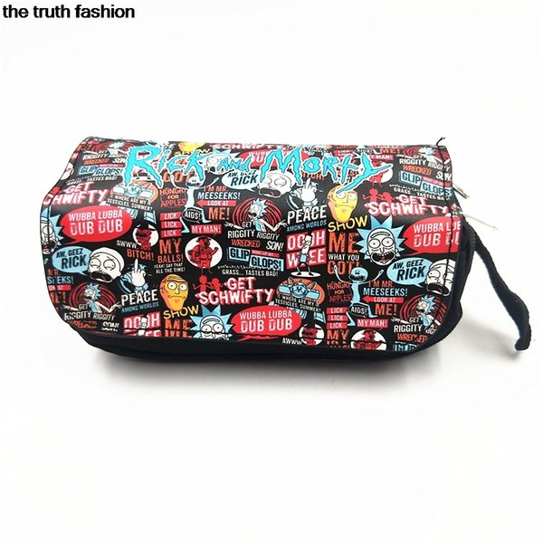 women Comestic Makeup Bag Rick and Morty Cosmetic make up Bags Eyebrow Pencil Organizer Handbag Women Clutch #235356
