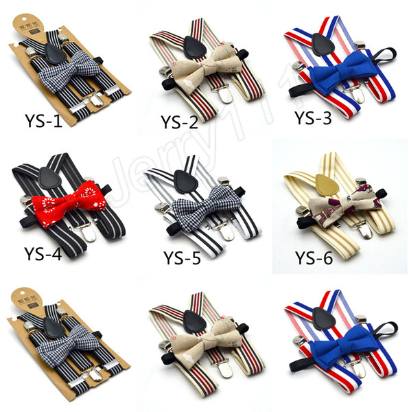 High Elastic elastic Butterfly knot Kids Baby Boys toddler Wedding Matching Braces Suspenders and Luxury Bow Tie Set LE197