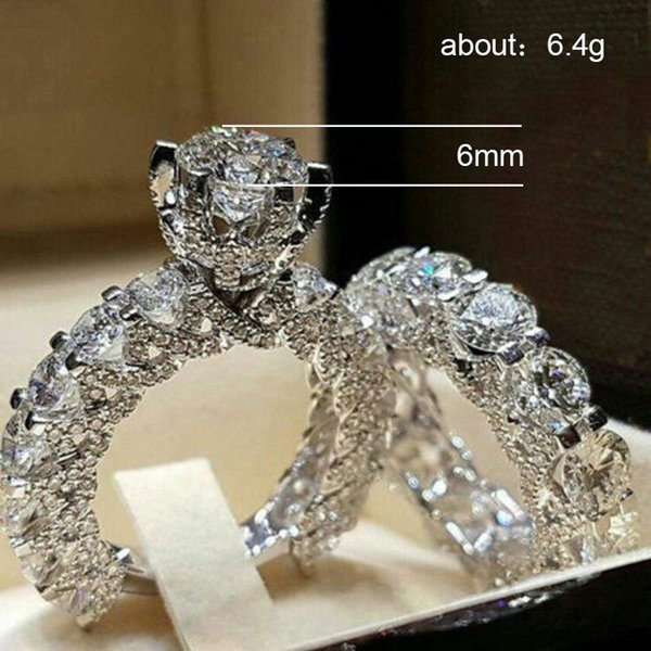 H012 Anillos de mujer 5 Tamaños Aleación Joyería Nueva Europa y América Damas redondas con incrustaciones de diamantes Anillo de moda Anillo de regalo de cumpleaños