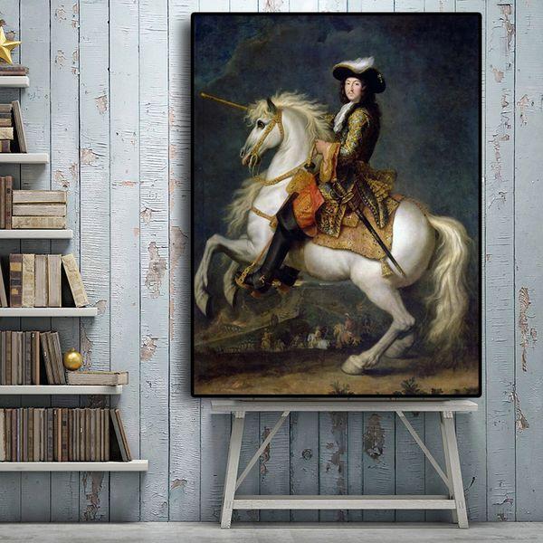 1 Pcs Vintga Napoleon Horse Portrait Oil Painting on Canvas Posters and Prints Scandinavian Nordic Art Wall Picture No Frame
