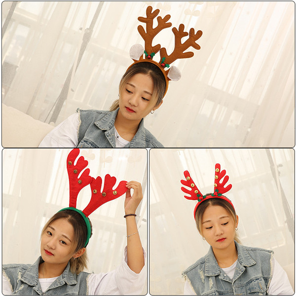 Christamas headband Reindeer antler Hairband Bell Deer Horn headbands Ear head HoopsHalloween Party Decorations adult kids CNY954