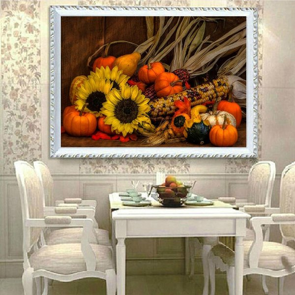 DIY Diamond Paintings Sunflower Pumpkin Vegetables Decor Picture Pattern Cross Stitch Diamond Paintings Embroidery Cross Home Decoration