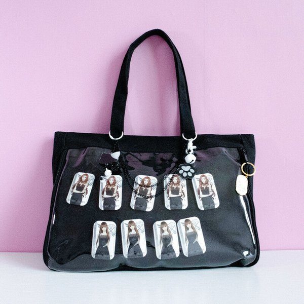 NEW Clear Ita-Bag Mise-Tote Bag Can Badge Keychain Cotton Rough Harajuku Style!!