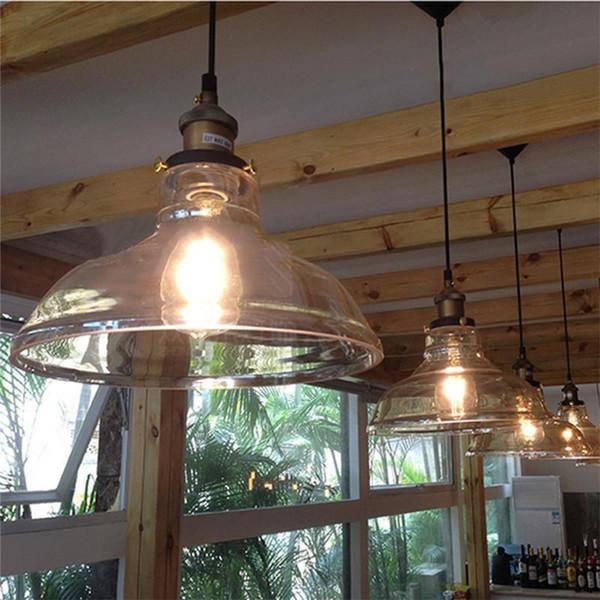 Clear Glass Shade Ceiling Vintage Retro Pendant Lamp Light Pendant Lights Restaurant Hanging Lamp Light Fixtures Oil Rubbed Bronze Pendant Light In