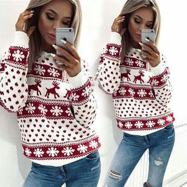 Herbst Winter Weihnachten Pullover Frauen-beiläufige lange Hülsen-Rotwild-Druck gestrickten Pullover Damen Pullover Pullover Hässliche Pull Femme