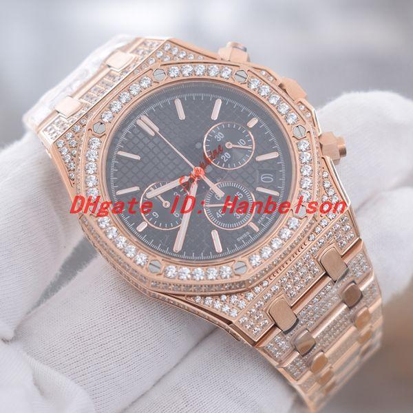 Orologio di lusso часы с бриллиантами дизайнерские часы мужские часы с ледяным сапфировым стеклом Японский кварцевый механизм Хронограф Наручные часы бренда Luxusuhr