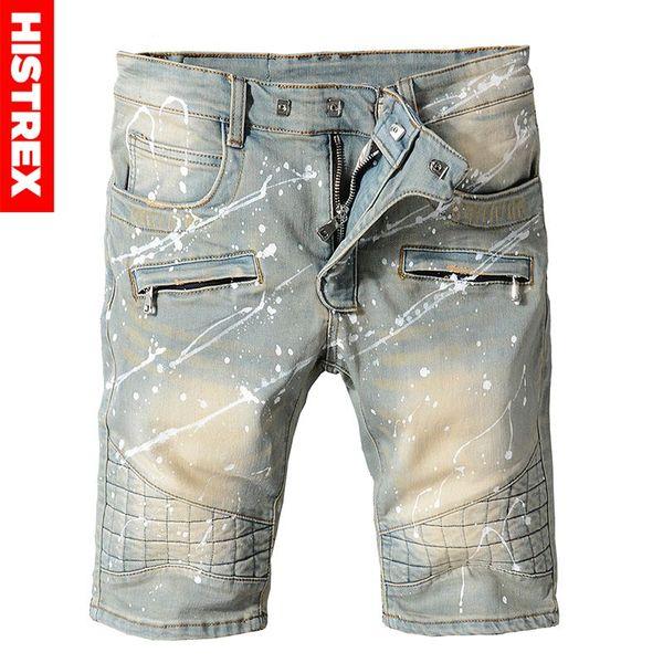 2018 Grid Men Jeans Shorts High Quality Fashion Designer Brand Light Blue Jean Hip Hop Knee Length Cotton Pants For Mens HJ8TEC#