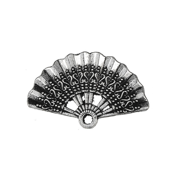 Fishhook 20pcs Custom Antique Silver Color Tone Hand Fan Floating Pendants And Charms With Metal Material