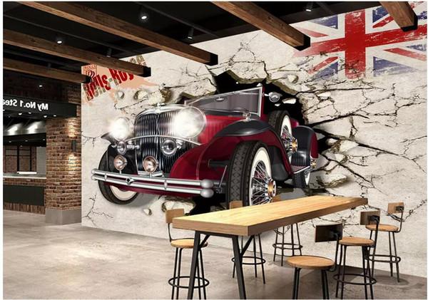3d wallpaper custom photo British retro car breaking wall TV background living room home decor 3d wall murals wallpaper for walls 3 d