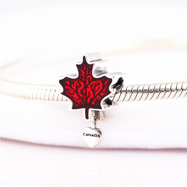 Encanto de plata de ley 925 esmalte canadiense hoja de arce Charm original pulsera colgante DIY para cadenas de serpientes y collares