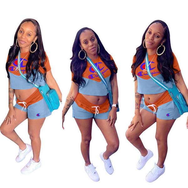 Champions Frauen 2 Stück Shorts Set Jogger Anzug Pullover Turnhalle Rundhalsausschnitt Ctop Top T-Shirt Bodycon Leggings Shorts Sommerkleidung plus Größe 345